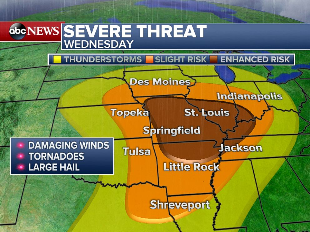 PHOTO: On Wednesday, a large swath of the country will be in the threat zone for severe storms stretching from northeastern Texas to Indiana.