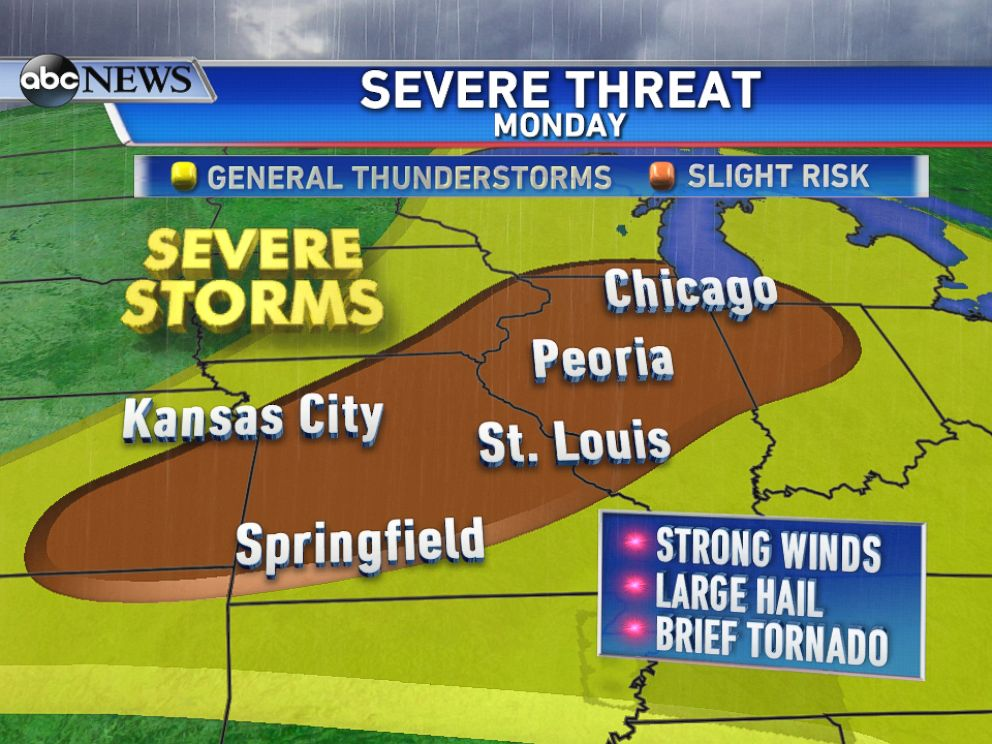 PHOTO: On Monday, the threat for severe weather shifts east including cities such as Chicago, St. Louis, and Kansas City.