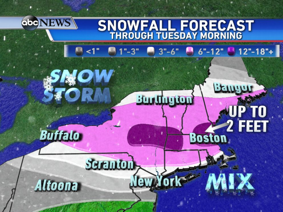 PHOTO: The highest snowfall totals are expected from central NY into New England by Tuesday morning.
