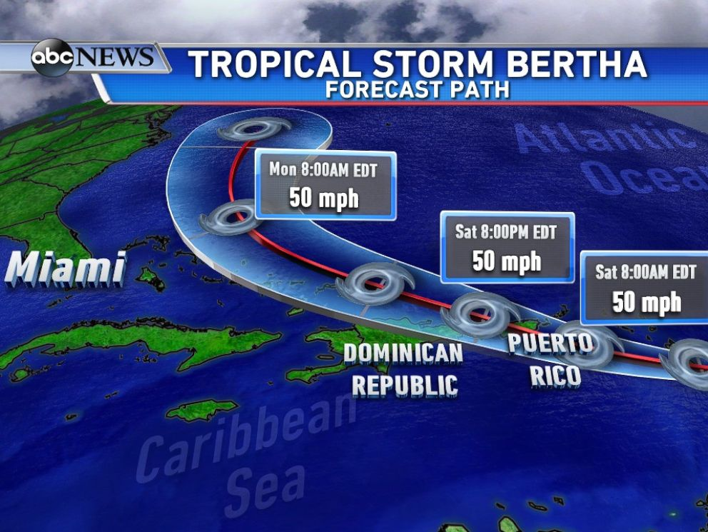 PHOTO: The forecasted track from Tropical Storm Bertha.