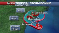 PHOTO: The latest forecast for Tropical Storm Bonnie has it moving over South Carolina over the next 24 hours and then moving north towards North Carolina on Sunday night.