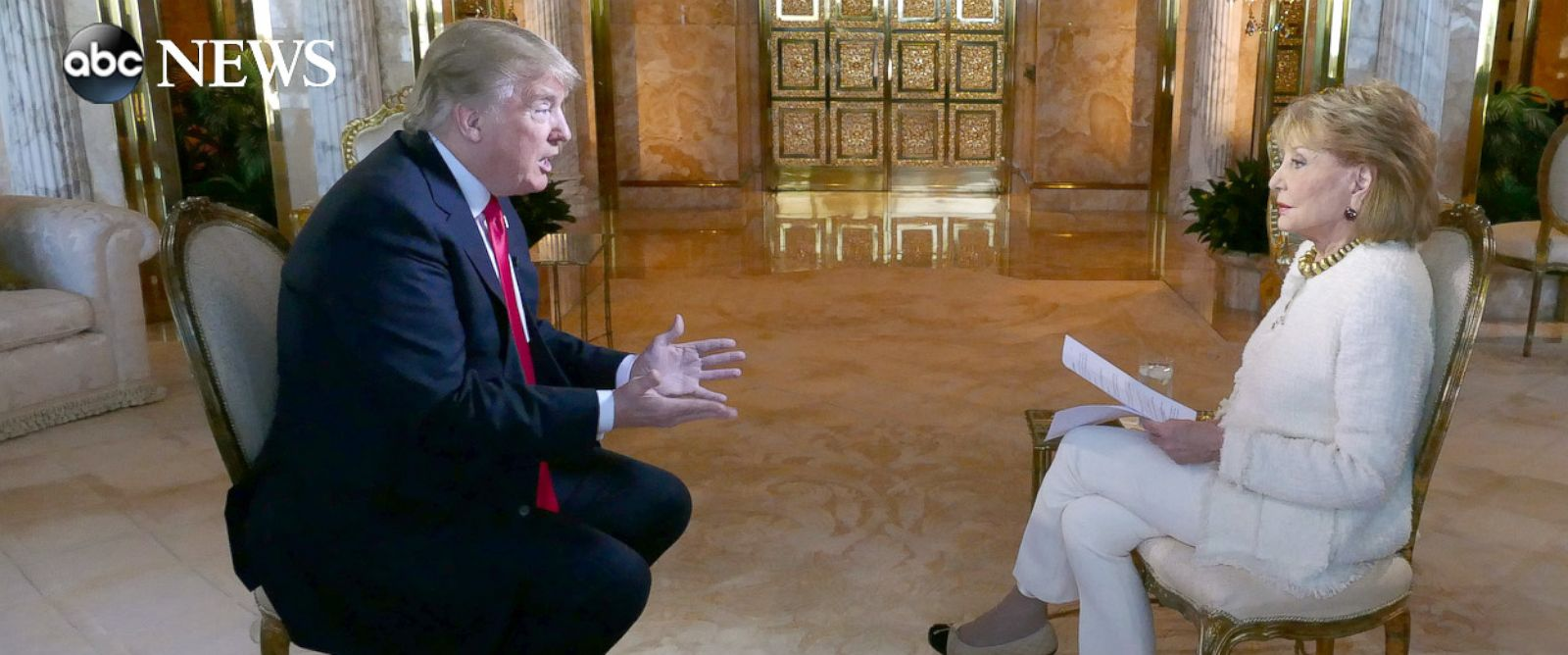 """PHOTO: Donald Trump sits down with Barbara Walters for an interview to air on ABC News """"20/20."""""""