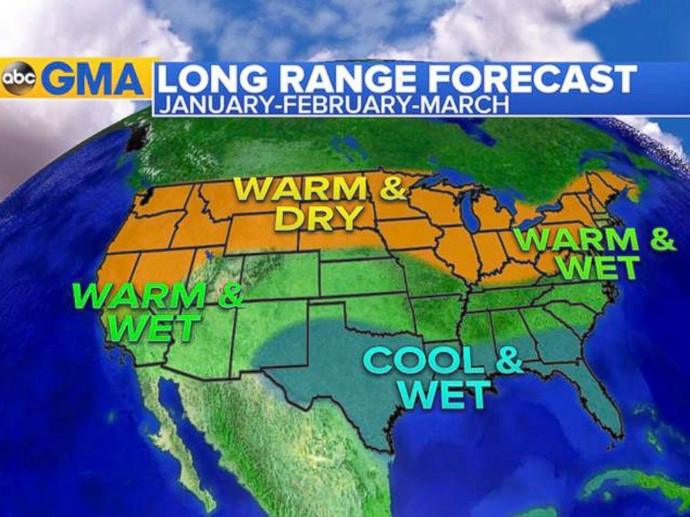 PHOTO: Here is the latest forecast for January, February and March. A typical El Nino pattern will return with milder weather in the Midwest and Northeast, wetter weather in the South and the Southwest, and drier in the Northwest.