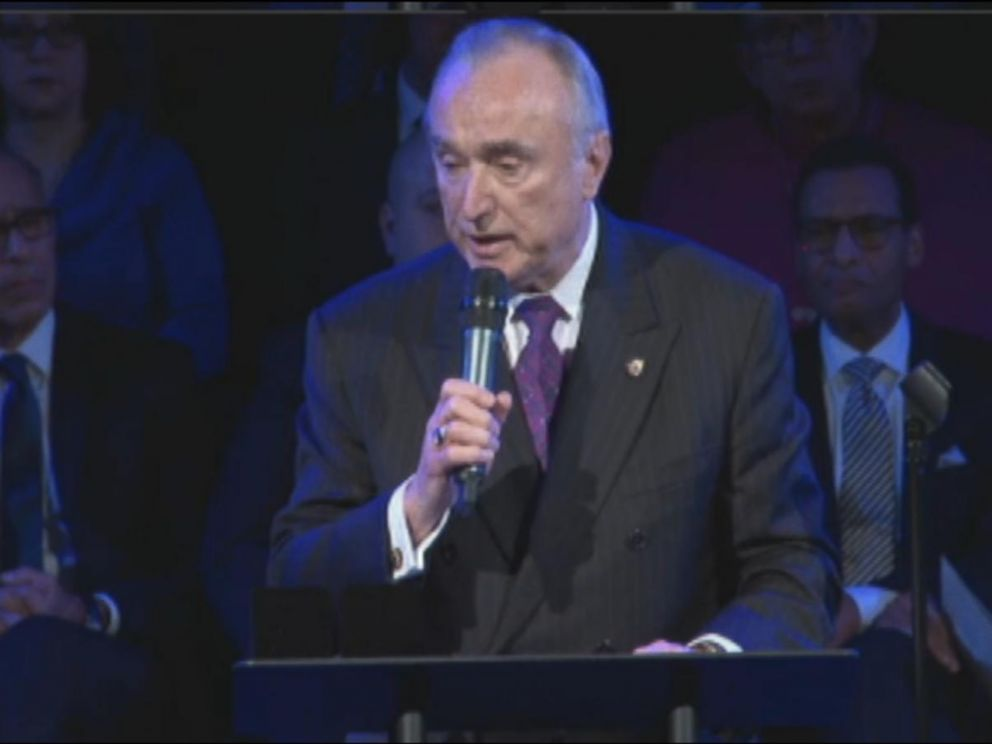 PHOTO: New York City Police Commissioner William J. Bratton delivers remarks at the funeral for New York City police officer Rafael Ramos on Saturday, Dec. 27, 2014.