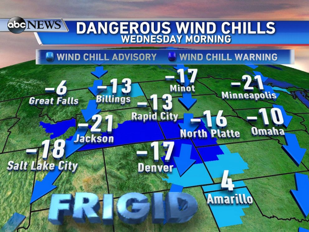 PHOTO: Wind Chill forecast for Wednesday Morning