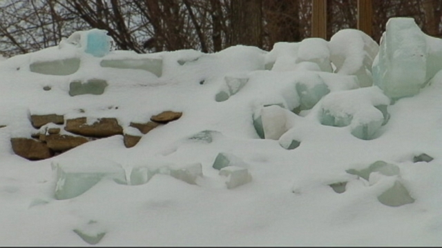 VIDEO: Gary Pruit used 700 blocks of ice to create the frozen wonder in his Minnesota front yard.