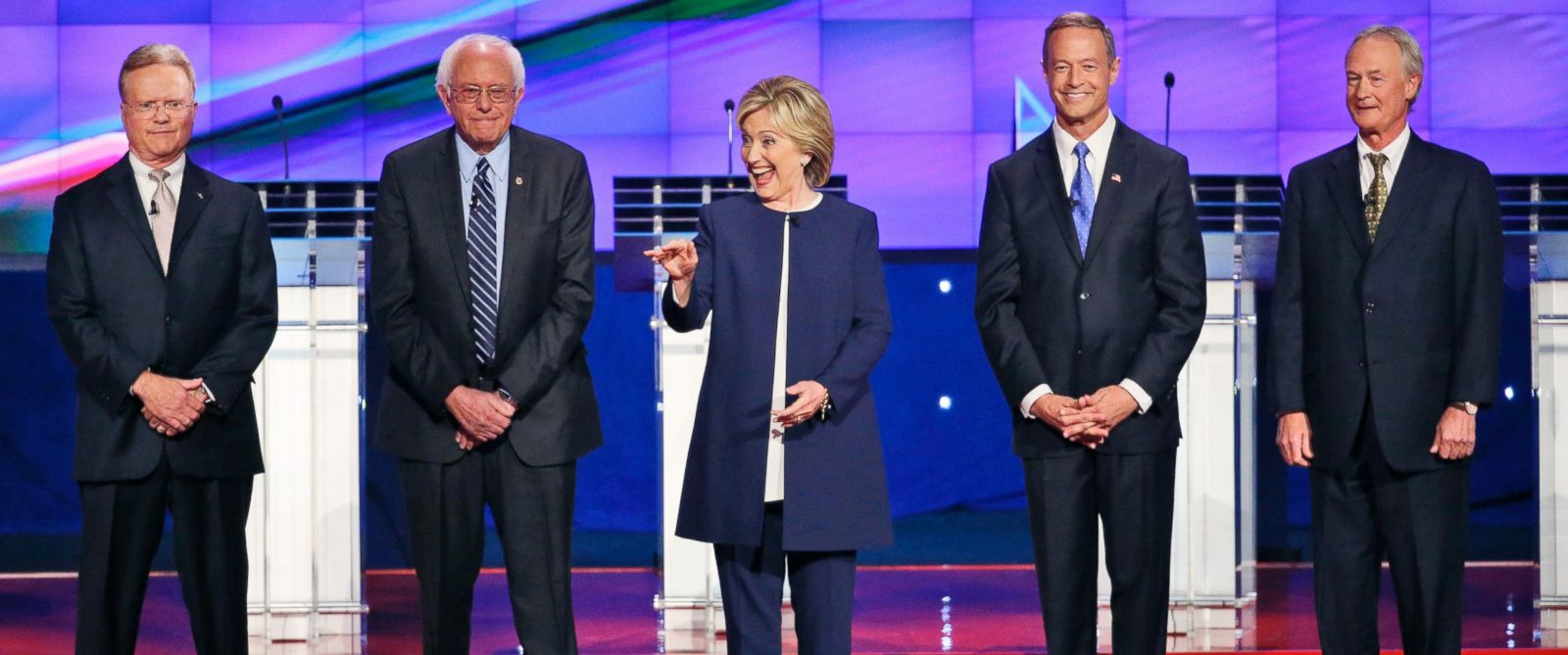 PHOTO: Democratic presidential candidates take the stage before the CNN Democratic presidential debate Tuesday, Oct. 13, 2015, in Las Vegas.