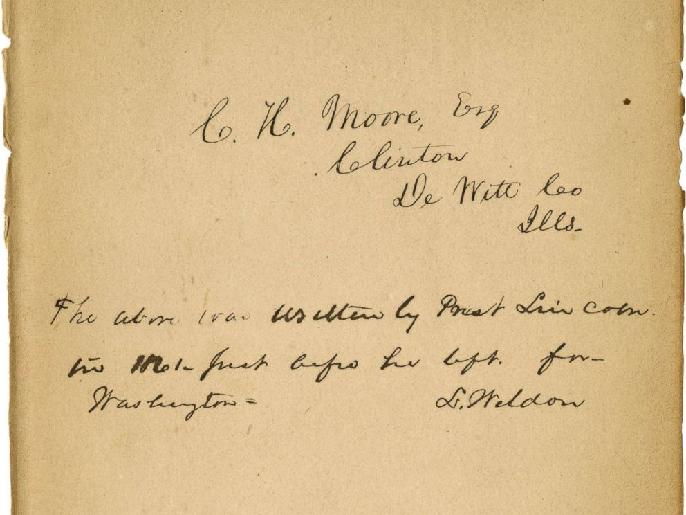 PHOTO: This undated photo provided by the Abraham Lincoln Presidential Library and Museum in Springfield, Ill., shows what historical experts say is Abraham Lincolns handwriting they?ve found inside a tattered book.