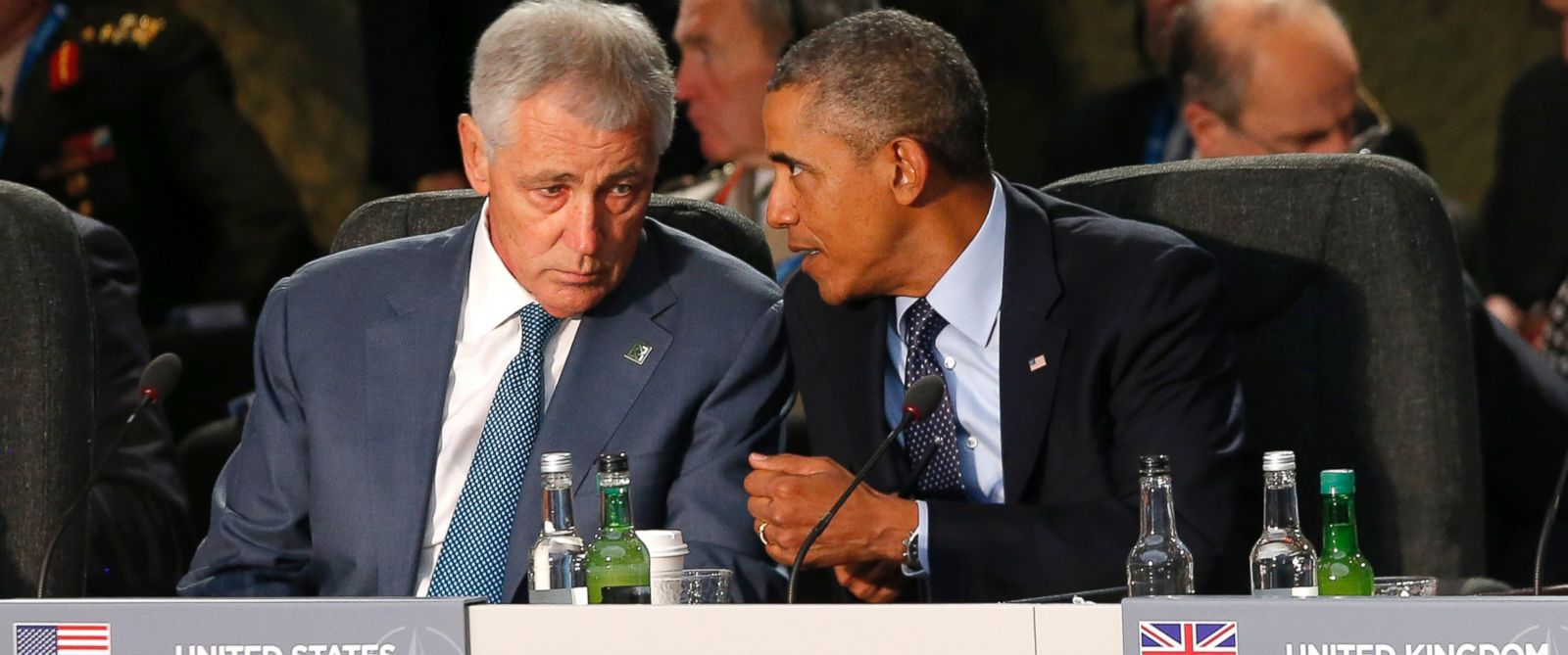 PHOTO: U.S. President Barack Obama speaks with U.S. Defense Secretary Chuck Hagel at a leaders meeting on the future of NATO at Celtic Manor, Newport, Wales, Sept. 5, 2014.