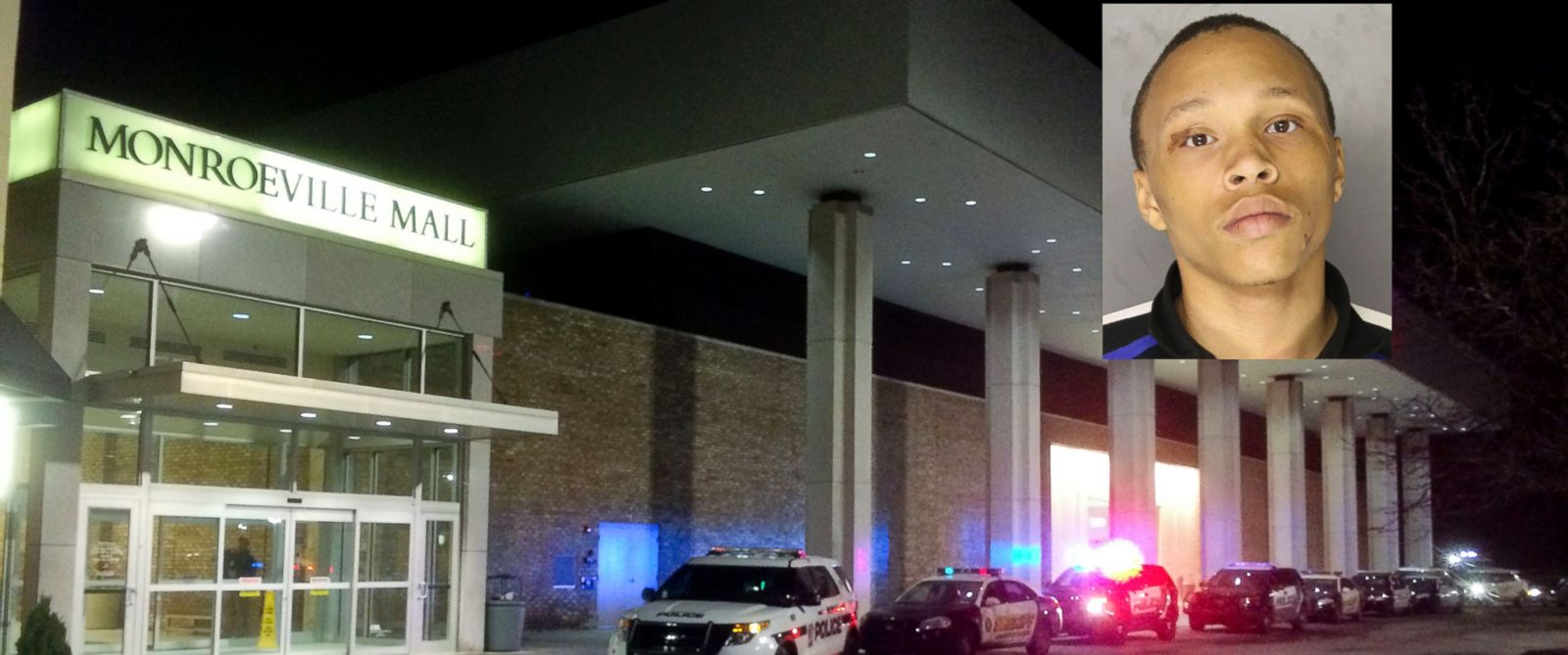 Police vehicles line up outside Monroeville (Pa) Mall Saturday, Feb. 7 2015, after a shooting took place inside. Tarod Thornhill, insert, was charged in connection with the shooting.