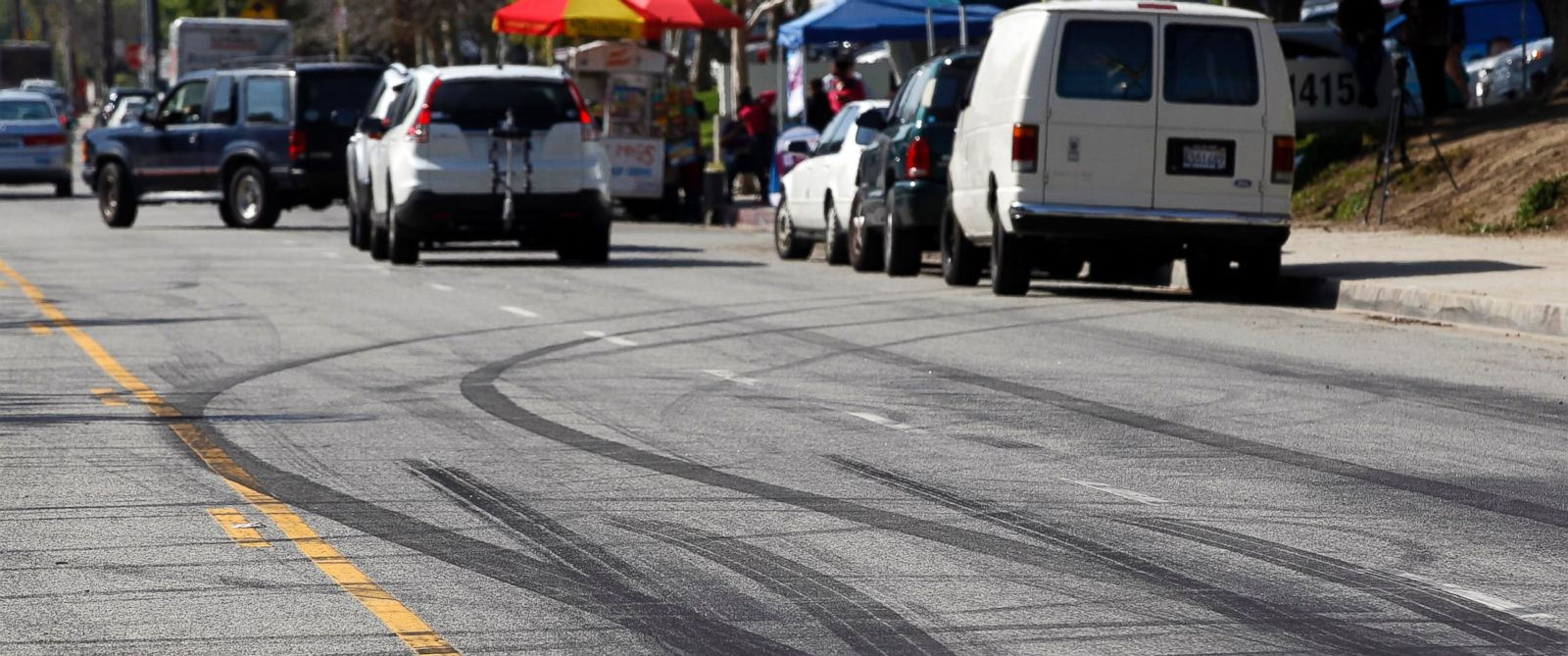 PHOTO: Car skid marks are visible along a street in the Chatsworth section of Los Angeles, Thursday, Feb. 26, 2015.