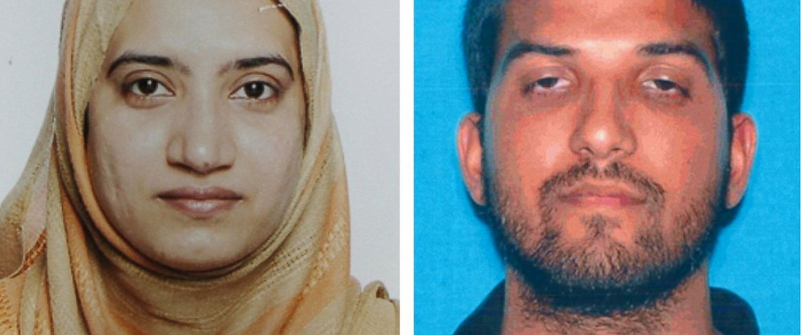 PHOTO: This undated combination of photos provided by the FBI, left, and the California Department of Motor Vehicles shows Tashfeen Malik, left, and Syed Farook.
