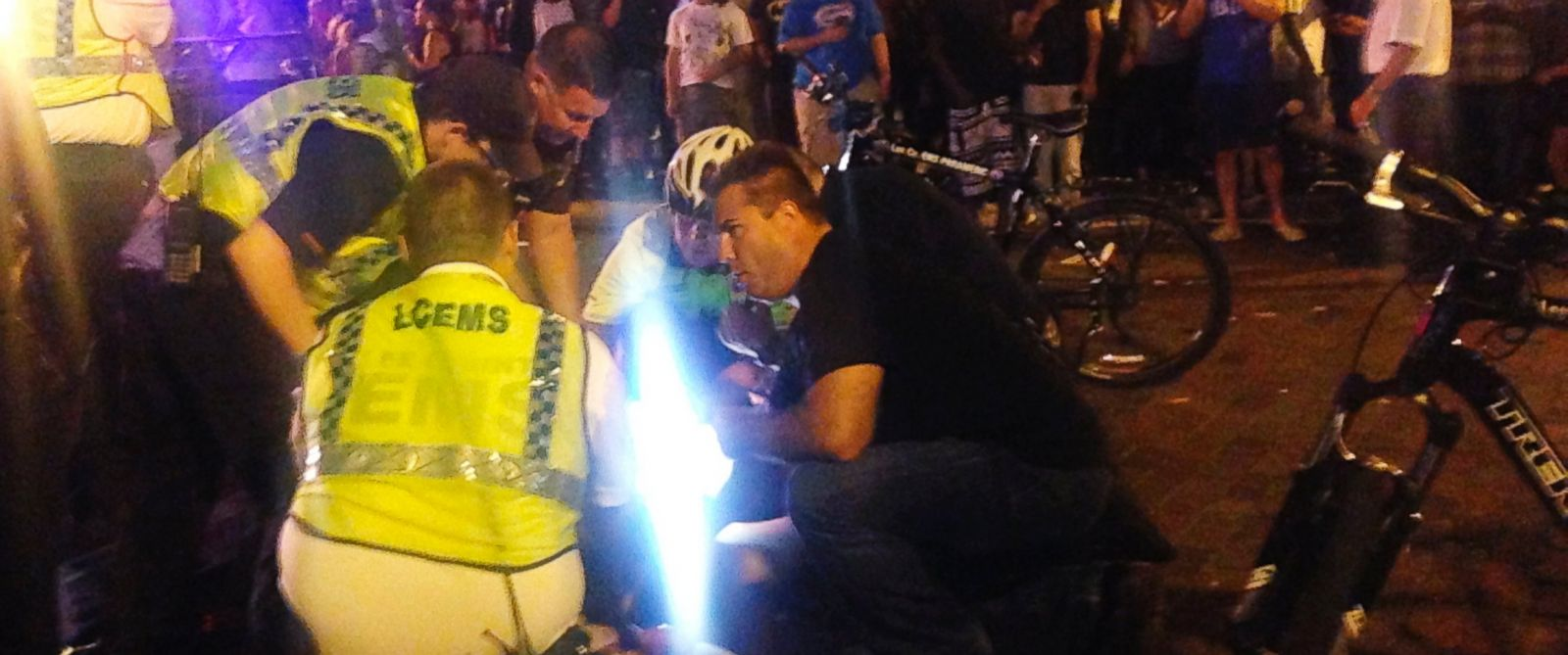 PHOTO: Emergency medical workers and police work next to a person at the scene of shooting, Oct. 17, 2015, at ZombiCon in Fort Myers, Fla.