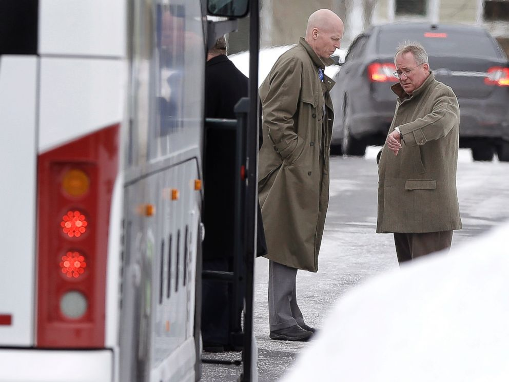 PHOTO: Massachusetts assistant District Attorneys William McCauley, left, and Patrick Bomberg, right, prepare to depart the North Attleborough, Mass., home of former New England Patriots football player Aaron Hernandez, Feb. 6, 2015.