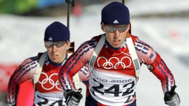 PHOTO: In this file photo, Lanny Barnes, right, and Tracy Barnes, left, ski the course during the Womens Biathlon training at the Turin 2006 Winter Olympic Games in Cesana San Sicario, Italy on Feb. 9, 2006.
