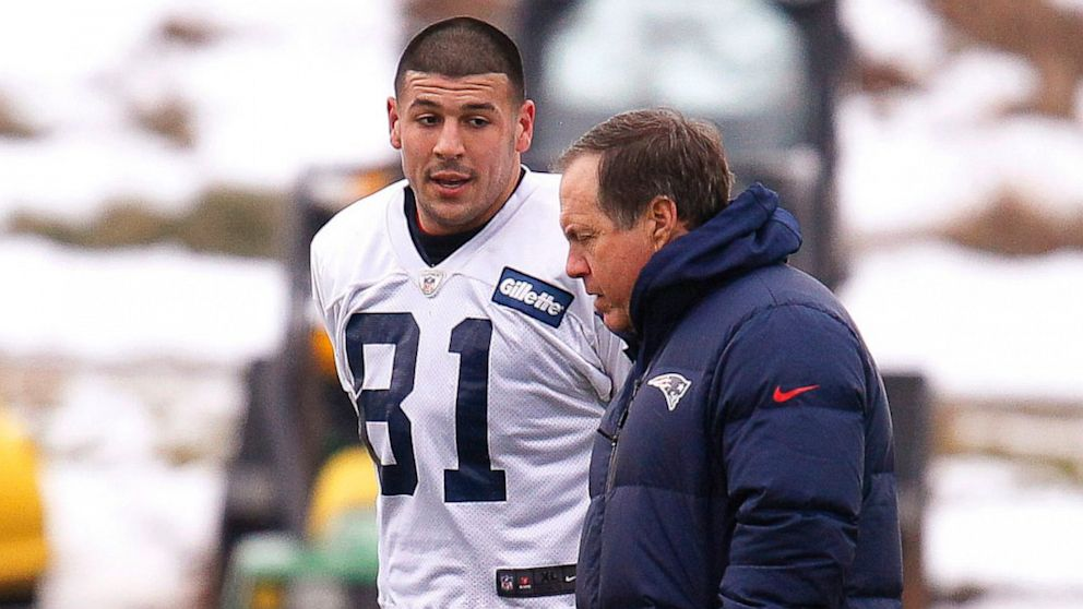 Photo of Bill Belichick & his friend  Aaron Hernandez