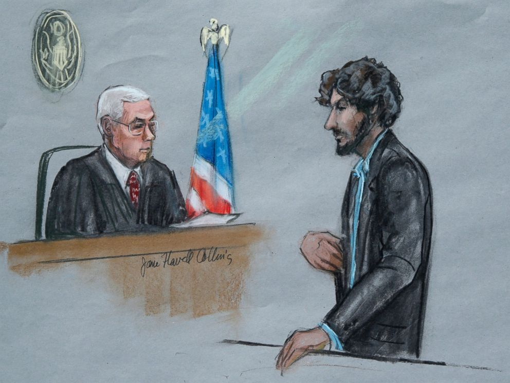 PHOTO:In this June 24, 2015, file courtroom sketch, Boston Marathon bomber Dzhokhar Tsarnaev, right, stands before U.S. District Judge George OToole Jr. as he addresses the court during his sentencing, in federal court in Boston.