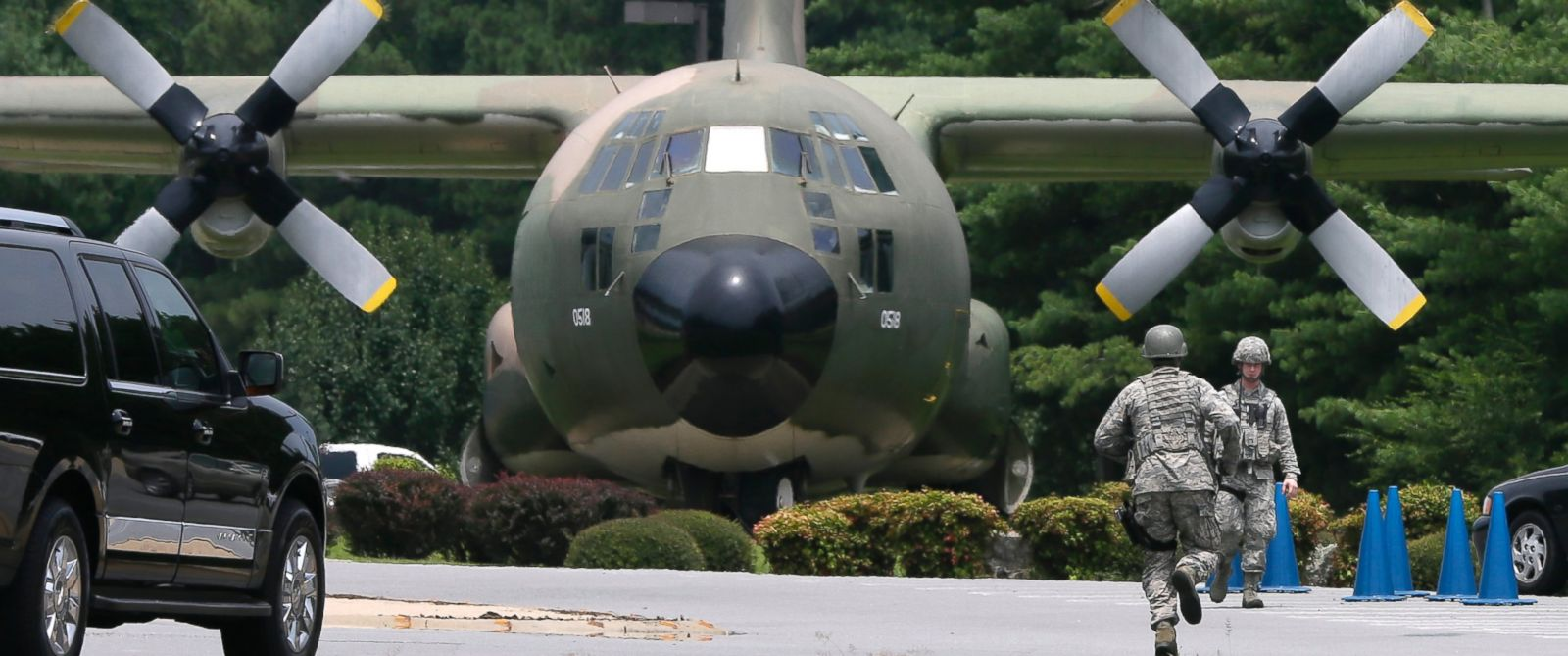 PHOTO: A C-130 aircraft is pictured at Little Rock Air Force Base in Jacksonville, Ark. on July 23, 2014 in this file photo.