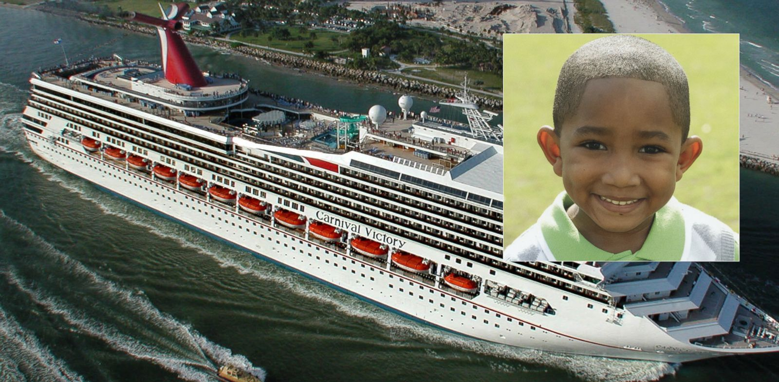 PHOTO: Inset, 6-year-old boy Qwentyn hunter drowned in one of the pools aboard a Carnival Cruise Lines ship while at sea, Oct. 13, 2013. The Carnival Victory is shown in the background in this October 2000 file photo.