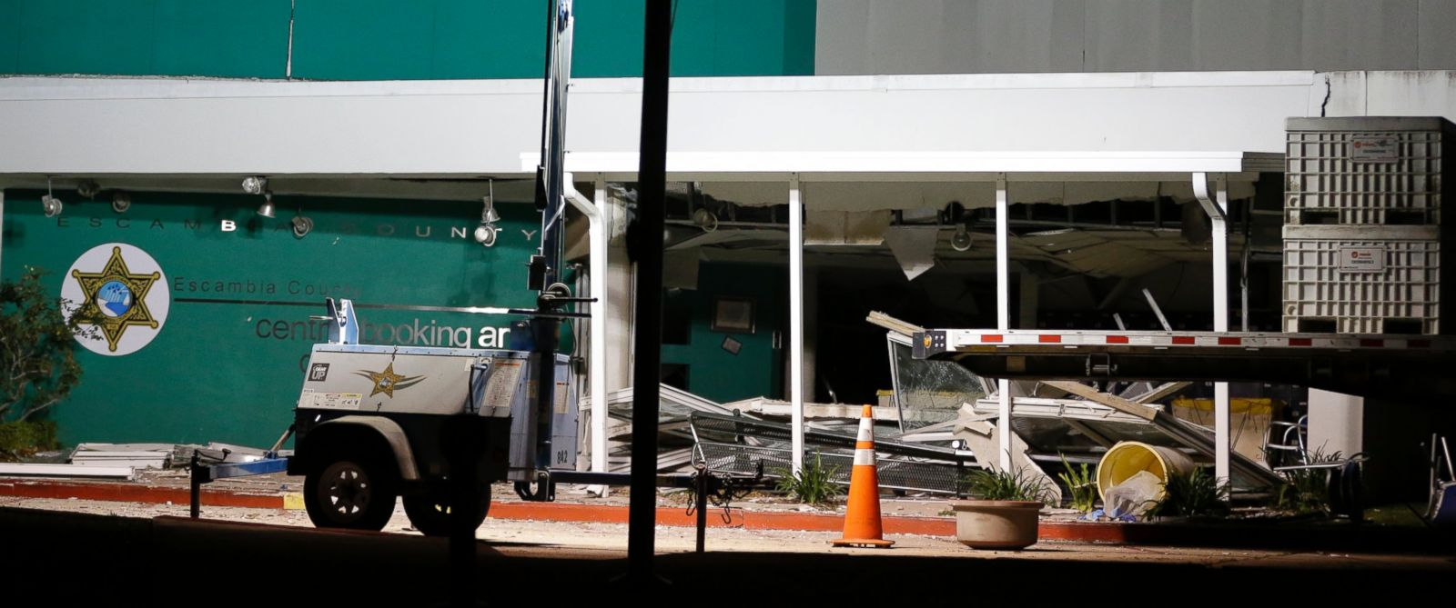 PHOTO: Damage to the Escambia County Jail is seen after an explosion in the facility, May 1, 2014, in Pensacola, Fla. Two inmates were killed and more than 100 others were injured in the explosion according to an Escambia County spokeswoman.