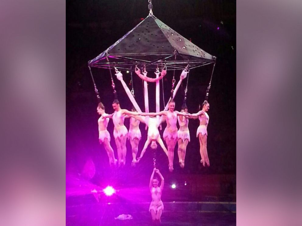 PHOTO: Performers hang during an aerial hair-hanging stunt at the Ringling Brothers and Barnum and Bailey Circus, Friday, May 2, 2014, in Providence, R.I.