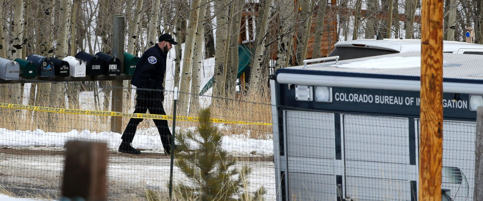 PHOTO: A law enforcement officer works at the scene where a man opened fire on several sheriffs deputies before the officers returned fire, killing the man, outside Bailey, Colo., Feb. 24, 2016.