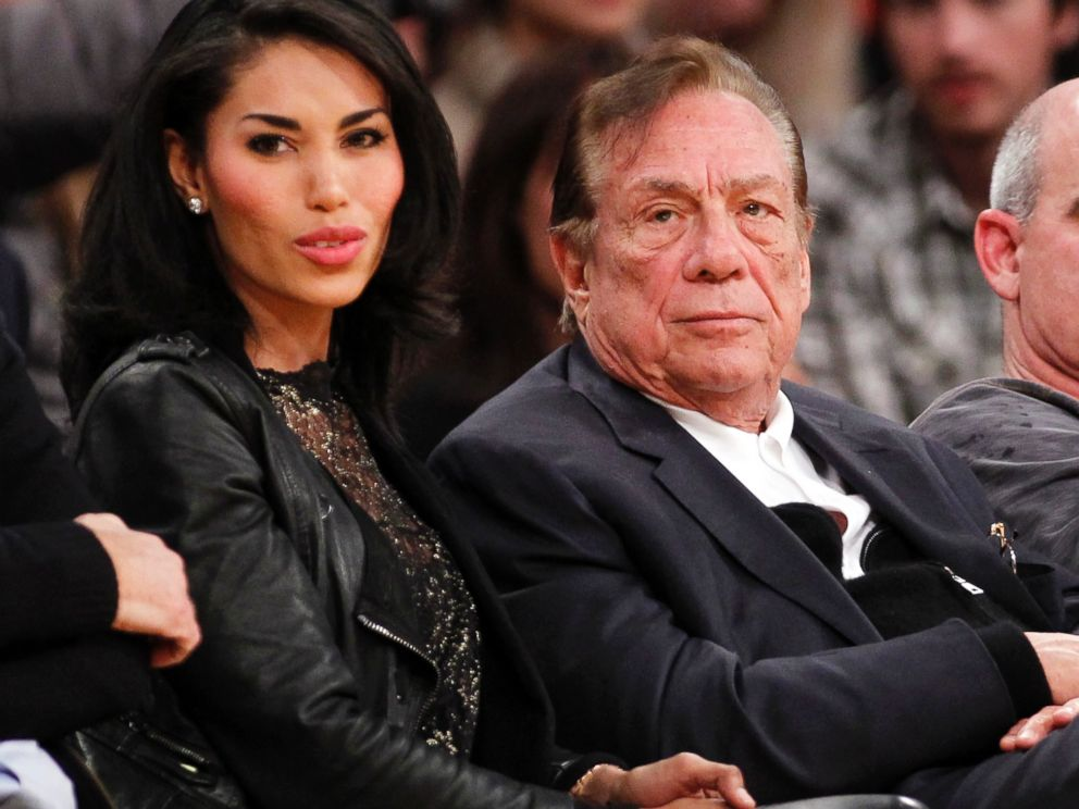 PHOTO: Los Angeles Clippers owner Donald Sterling, third right, sits with V. Stiviano, left, as they watch the Clippers play the Los Angeles Lakers during an NBA preseason basketball game in Los Angeles, Calif., Dec. 19, 2010.