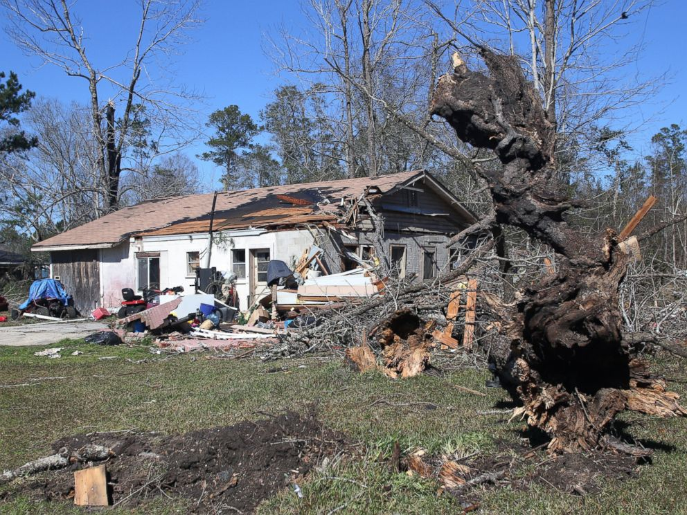 PHOTO: Large trees are toppled in the yard of a home that was damaged by severe weather in Century, Fla., Feb. 16, 2016.
