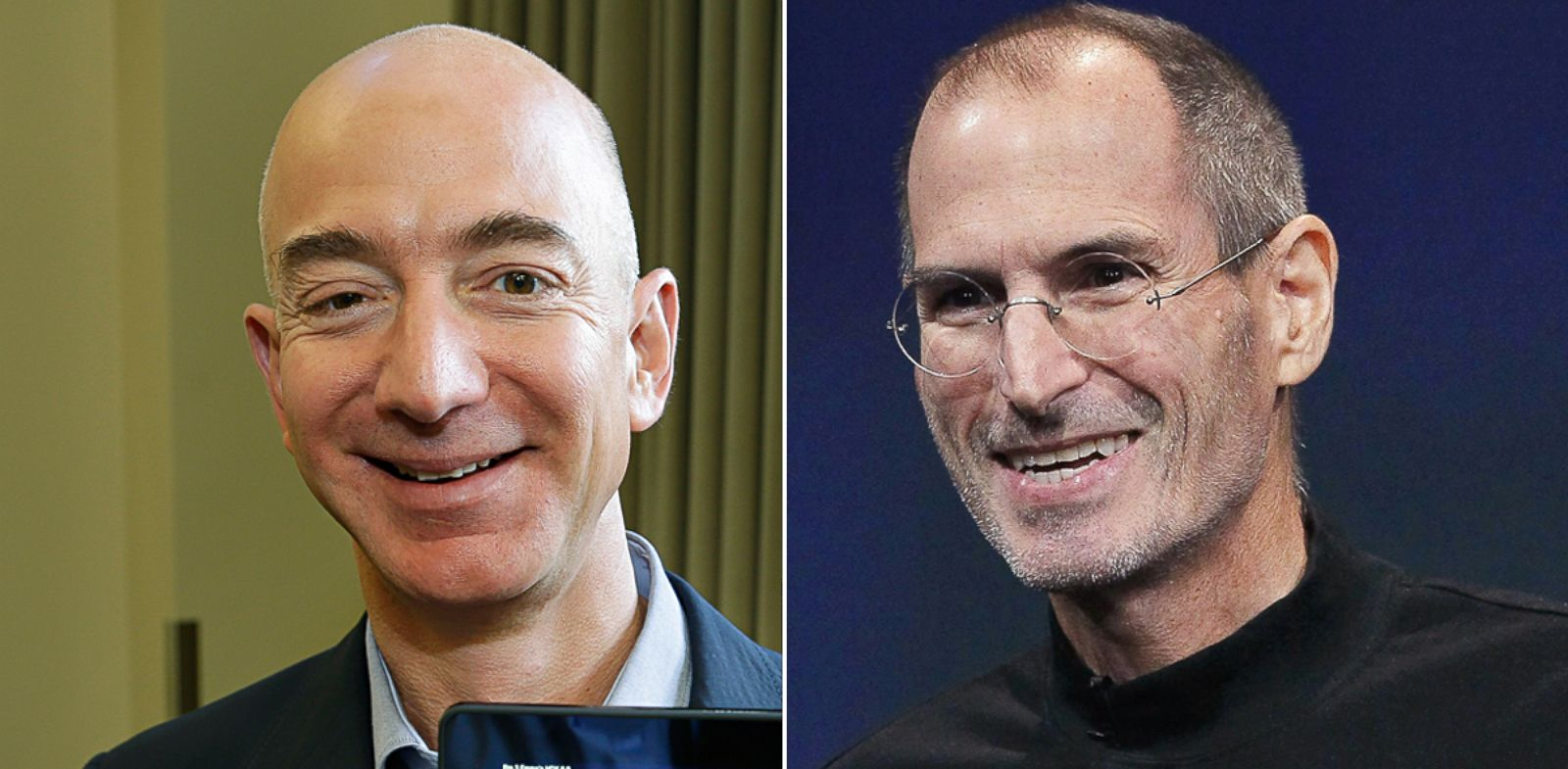 PHOTO: Jeff Bezos, CEO of Amazon.com, in Seattle, Sept. 24, 2013; Apple CEO Steve Jobs in Cupertino, Calif, Oct. 20, 2010.