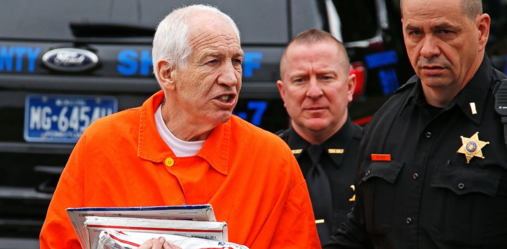 PHOTO: Former Penn State University assistant football coach Jerry Sandusky talks with reporters as he arrives at the Centre County Courthouse in Bellefonte, Pa., May 2, 2016.