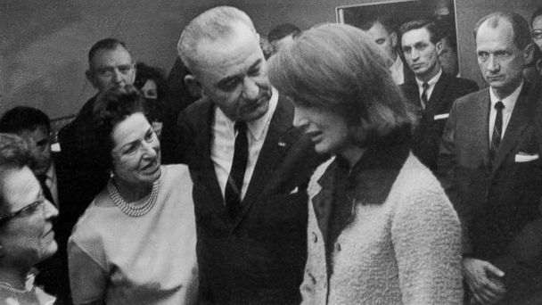 PHOTO: President Lyndon B. Johnson and his wife Lady Bird console Jacqueline Kennedy moments after he is administered the oath of office in the cabin of the presidential plane in Dallas, Texas, Nov. 22, 1963.