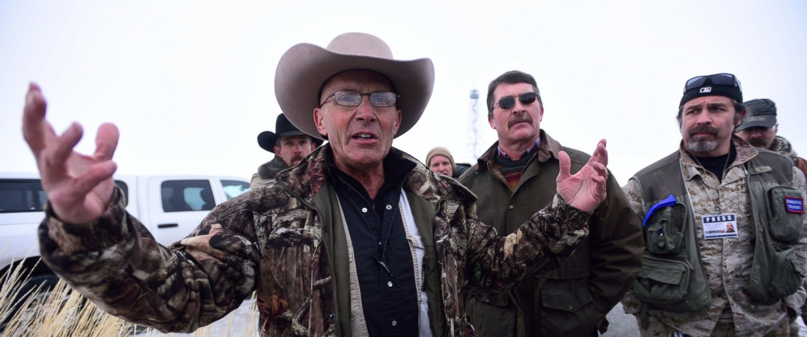 "PHOTO: Occupier Robert ""LaVoy"" Finicum confronts the 3% of Idaho and Pacific Patriots Networks members over their heavily armed display at the Malheur National Wildlife Refuge headquarters near Burns, Ore., on Jan. 9, 2016."