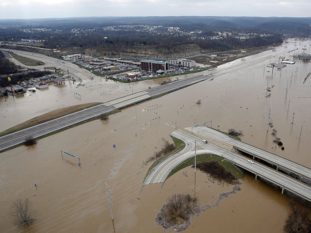 PHOTO: In this aerial photo, flood water covers Interstate 44, Dec 30 ...