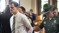 PHOTO: Nathaniel Kibby is escorted out of the Belknap County Superior after pleading guilty and being sentenced 45-90 years in prison for kidnapping, rape, criminal threatening and witness tampering, May 26, 2016, in Laconia, N.H.
