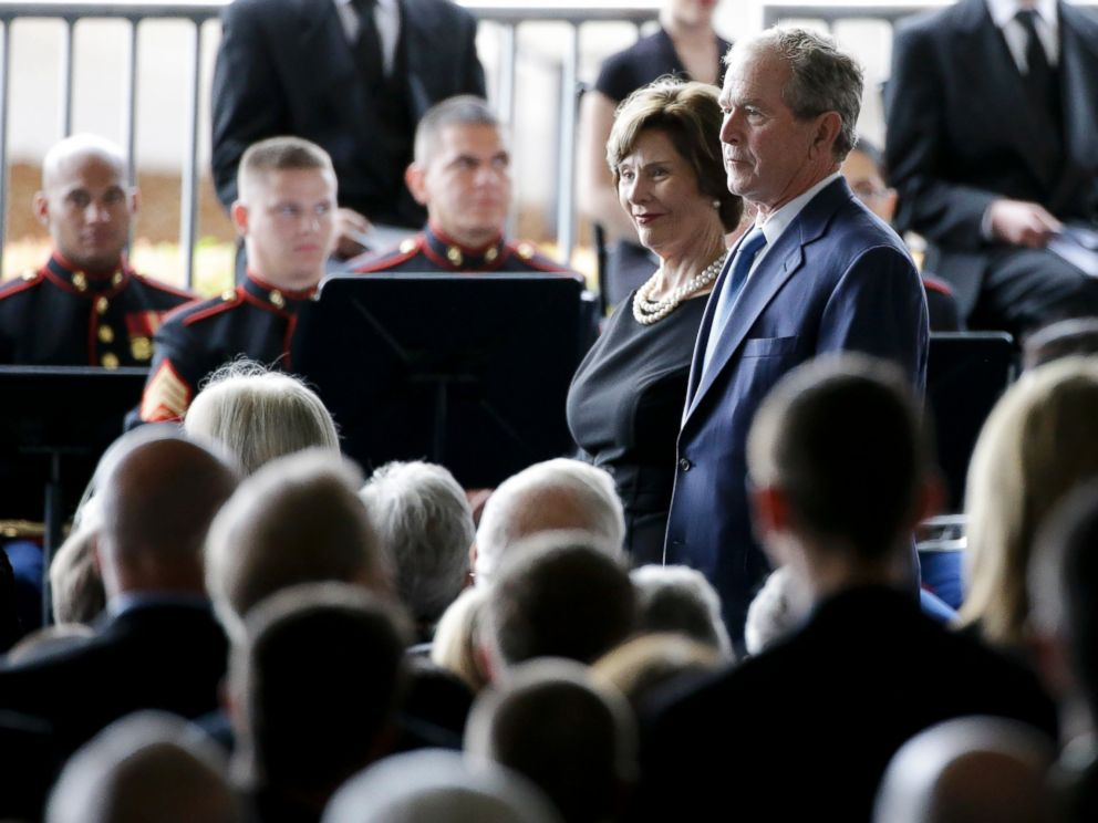 PHOTO: Former President George W. Bush and Laura Bush arrive for the funeral service for Nancy Reagan at the Ronald Reagan Presidential Library, March 11, 2016 in Simi Valley, Calif.