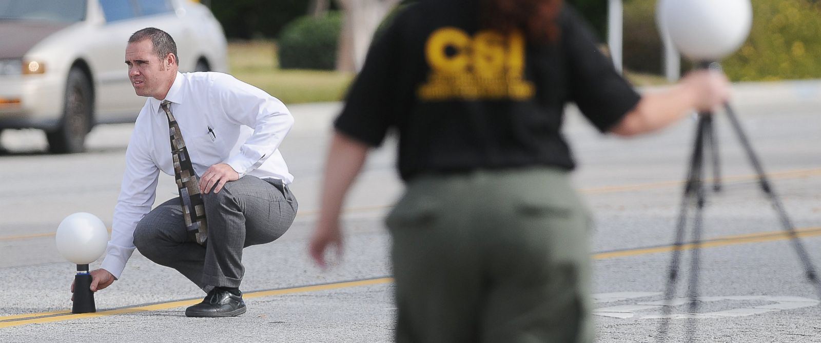 PHOTO: San Bernardino County Sheriffs officials conduct the investigation on Dec. 3, 2015, at the scene of the shoot out between law enforcement officers and suspects in a mass shooting on Orange Show Drive in San Bernardino, Calif.