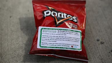 PHOTO: Bags of Doritos with a sticker affixed that helps spell out rules for marijuana users at Seattle hempfest