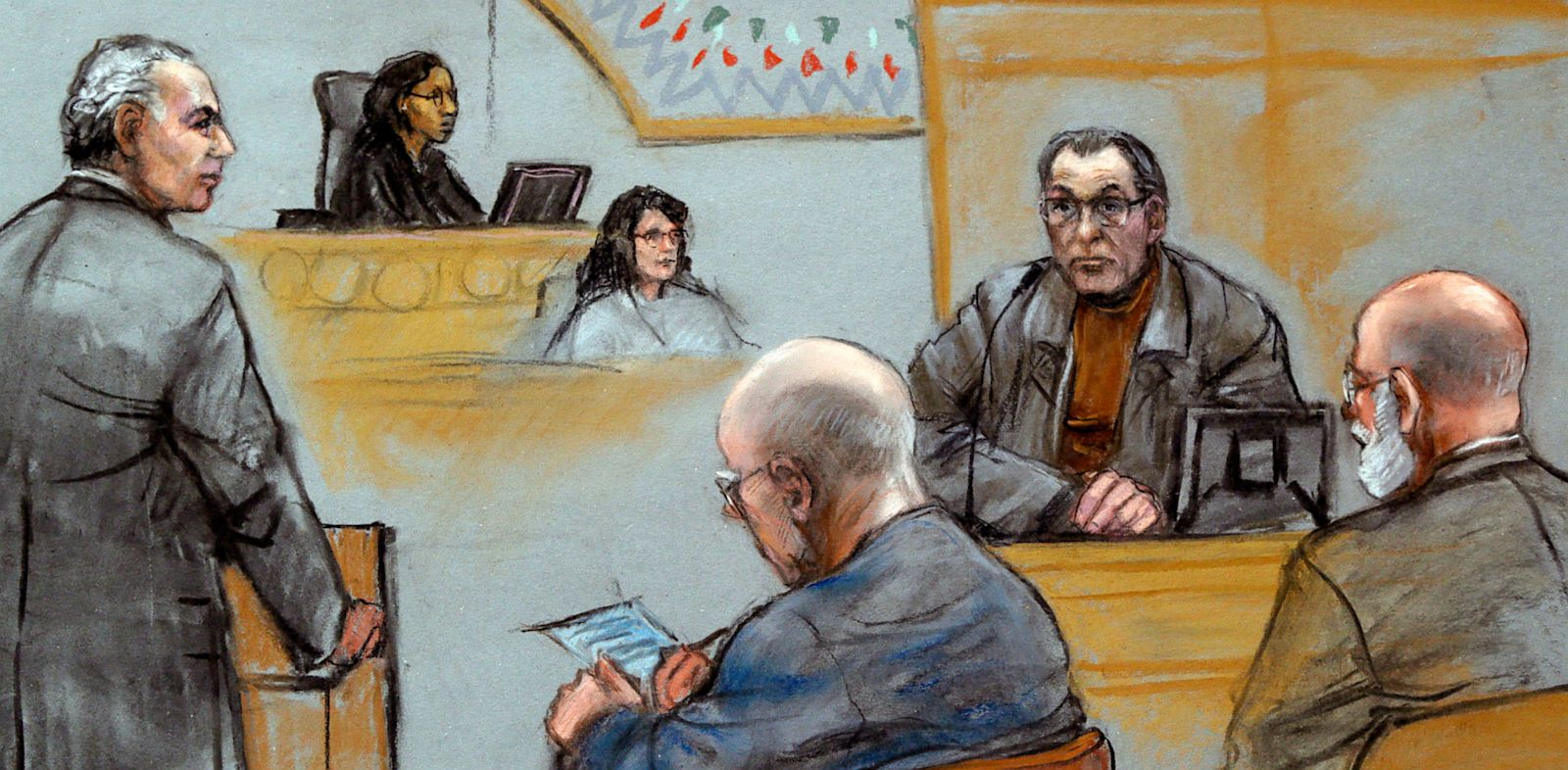 "PHOTO: This courtroom sketch depicts Stephen ""The Rifleman"" Flemmi,"