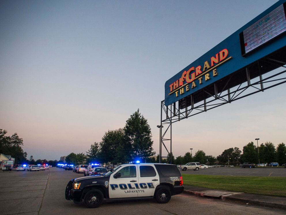PHOTO: A Lafayette Police Department vehicle blocks an entrance at the Grand Theatre in Lafayette, La., following a shooting, Thursday, July 23, 2015.