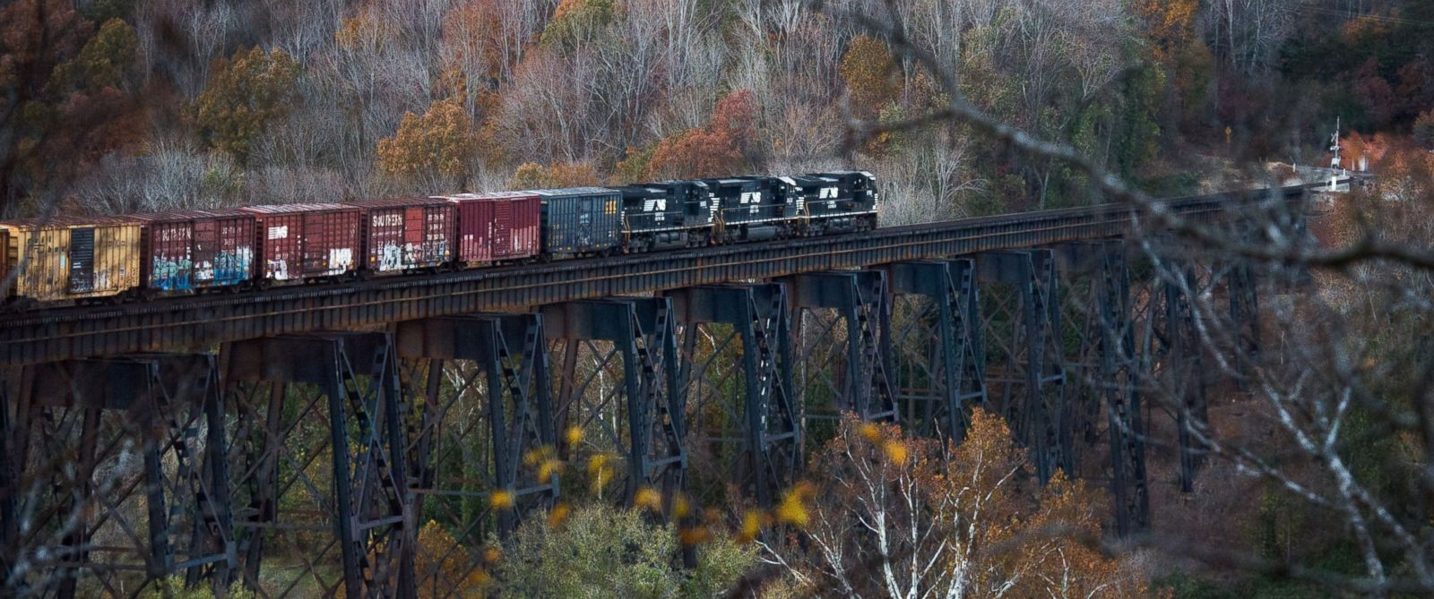 PHOTO: Norfolk Southern was alerted to stop the train after it encountered a group of young adults on the trestle above the James River at Riverside Park, Nov. 8, 2014.