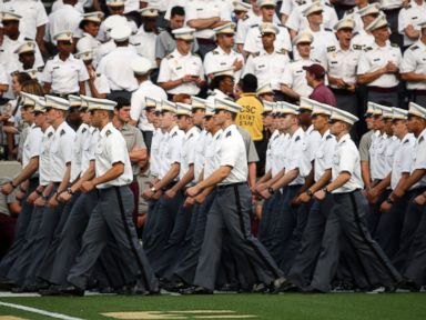 PHOTO: Cadets march into Michie Stadium before an NCAA college football game between Army and Fordham in West Point, N.Y. , Sept. 4, 2015.