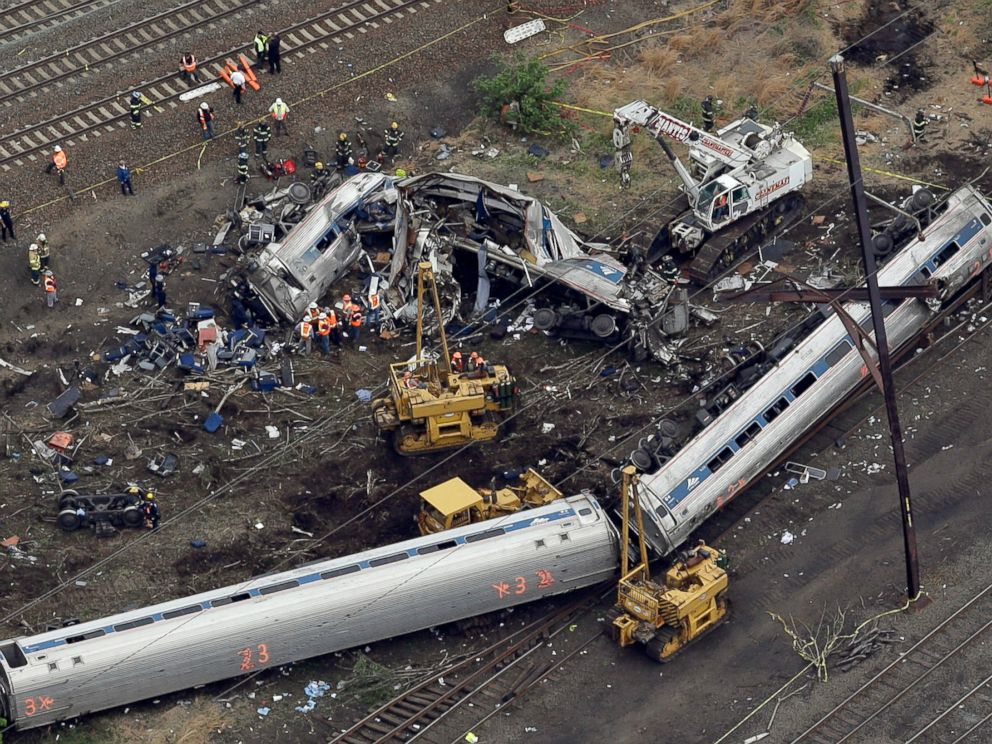 PHOTO:Emergency personnel work at the scene of a deadly train derailment, May 13, 2015, in Philadelphia.