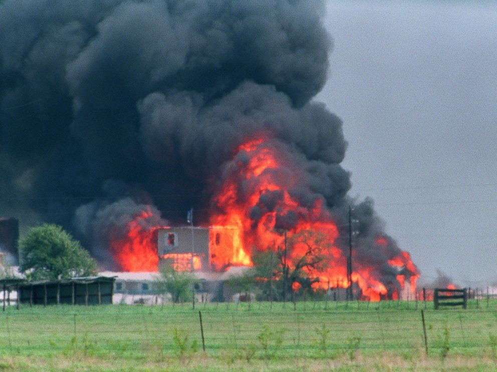 PHOTO: The Branch Davidian Compound observation tower shown engulfed in flames after a fire started inside the compound, killing Koresh and 80 of his followers on April 19, 1993 in Waco, Texas.
