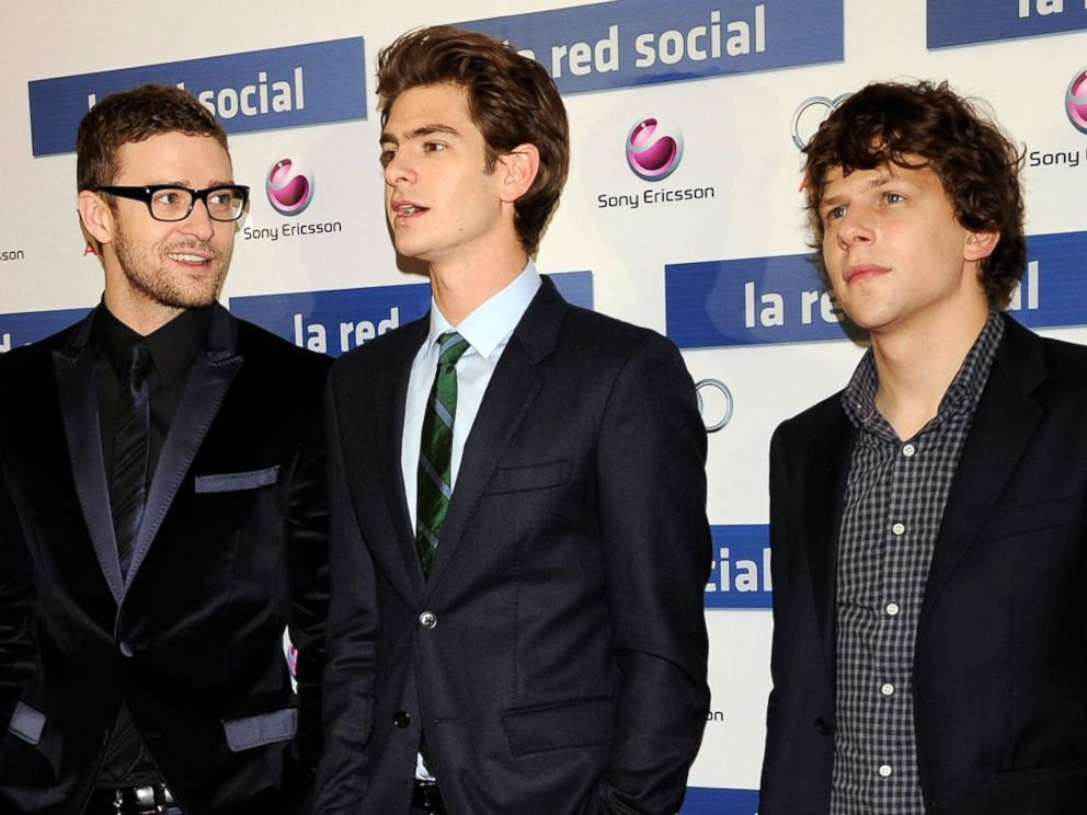 PHOTO: Left to right, Justin Timberlake, Andrew Garfield and Jesse Eisenberg attend La Red Social (The Social Network) premiere at the Proyecciones Cinema, Oct. 6, 2010, in Madrid.