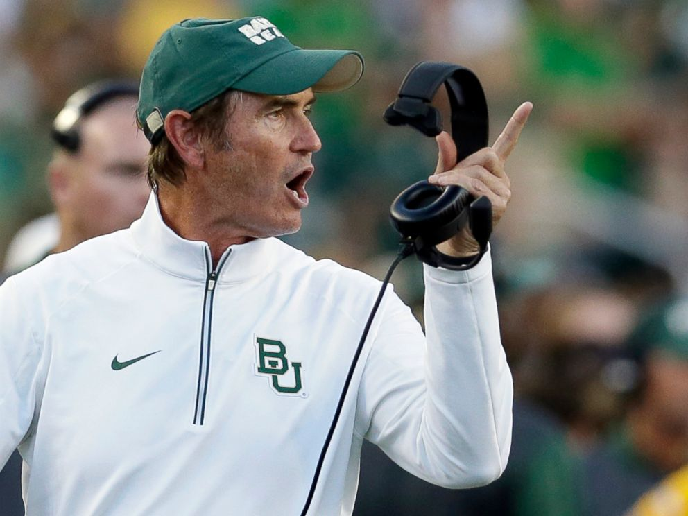 PHOTO: Baylor coach Art Briles yells from the sideline during the first half of an NCAA college football game against Lamar in Waco, Texas, in this Sept. 12, 2015 file photo.