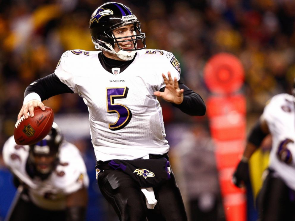 PHOTO: Joe Flacco #5 of the Baltimore Ravens looks to pass the football against the Pittsburgh Steelers during the AFC Championship game at Heinz Field on Jan. 18, 2009 in Pittsburgh, Pennsylvania. The Steelers won 23-14 to advance to Super Bowl XLIII.