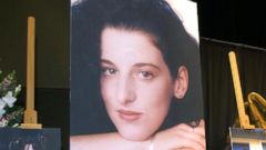 PHOTO: Photographs of Chandra Levy are displayed during a memorial for her at the Modesto Centre Plaza 28 May, 2002 in Modesto, Calif.