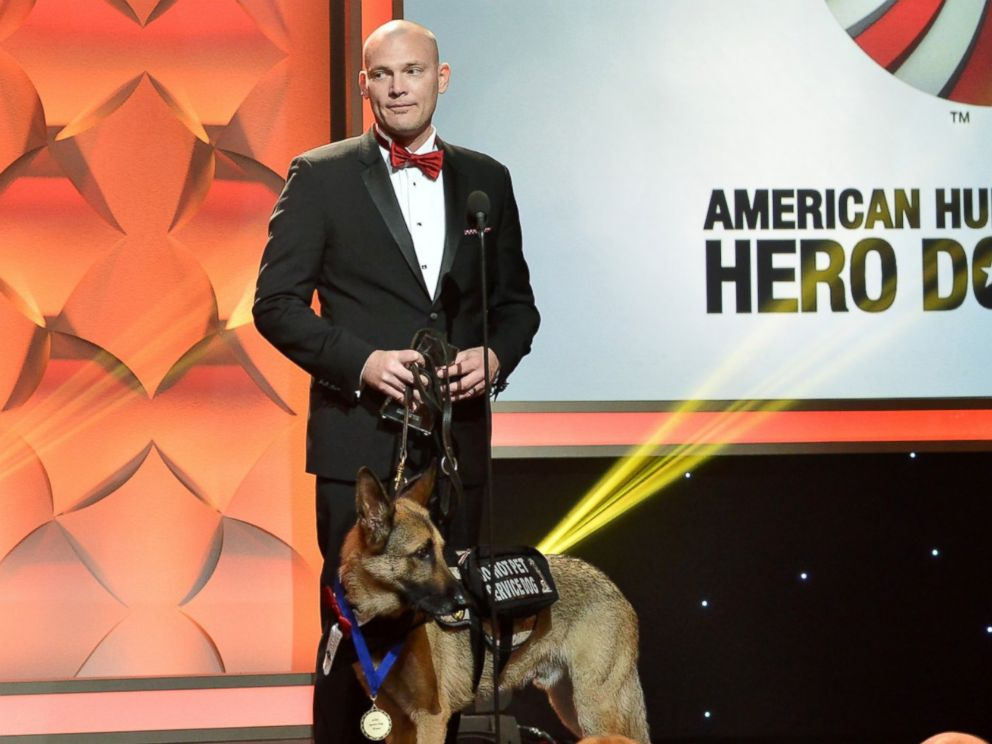 PHOTO: Jason Haag and Axel, Service Dog Category Winner at the American Humane Associations 5th Annual Hero Dog Awards 2015 are seen at The Beverly Hilton Hotel, Sept. 19, 2015, in Beverly Hills, Calif.