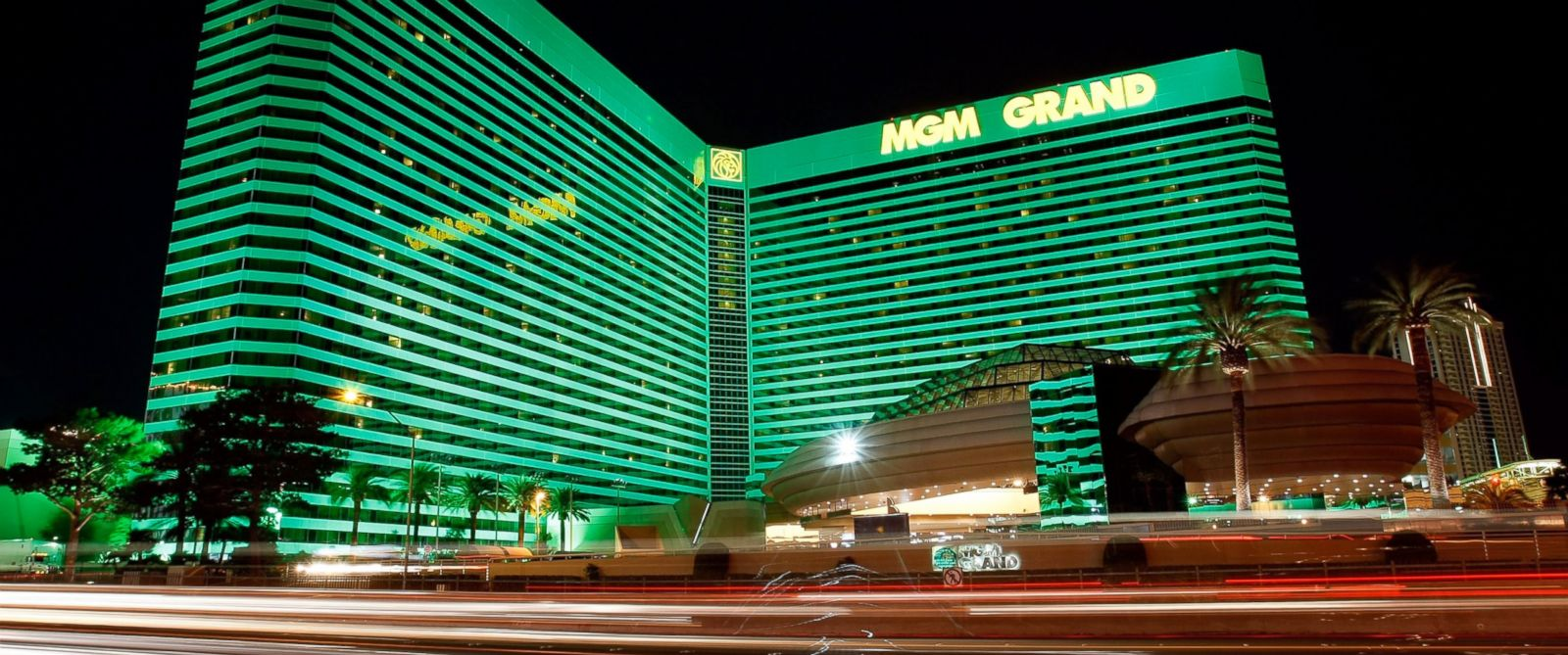 PHOTO: Lights from passing vehicles are seen in front of the MGM Grand Hotel/Casino in Las Vegas, March 4, 2009.