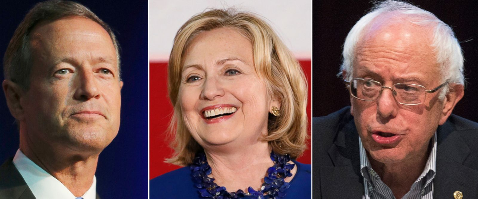 PHOTO: Martin OMalley, Hillary Clinton and Bernie Sanders are seen here in this undated file photo.
